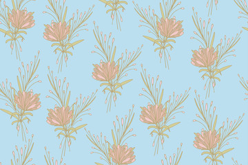 Seamless pattern with cute simple flowers. Floral background for packaging, textiles, Wallpaper. Flower background.