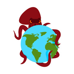 Octopus and earth. poulpe monster and planet