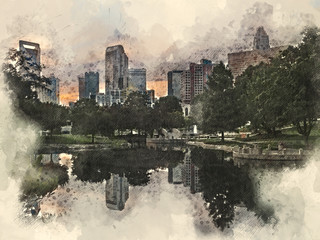 Watercolor mixed media illustration of the Charlotte, North Carolina skyline at sunset as seen from Marshall Park