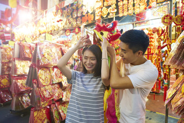 Couple having fun at Chinatown