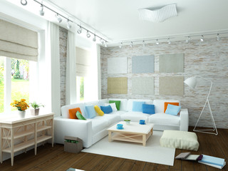 Modern white living room with bright decor details