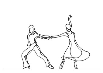 continuous line drawing of dancing couple