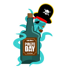 International Talk Like A Pirate Day. Octopus pirate and bottle of rum. poulpe buccaneer and brandy. Eye patch and smoking pipe. pirates cap. Bones and Skull. See animal filibuster and binge
