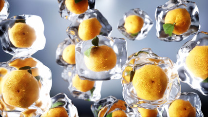 Orange in ice cubes. Food and broadcast concept. Realistic ice materials. 3d rendering.