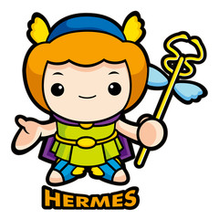 The god of strangers, Hermes Character. Olympus God Isolated Mercurius Vector Illustration.