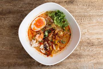 Thai noodle Tom Yum  and sea food.