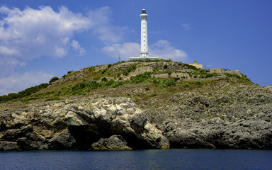 View from the sea the white lighthouse of Santa Maria di Leuca, Apulia - Italy