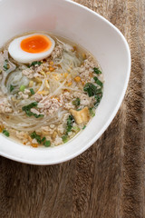 Pork rice noodle soup with meat ball