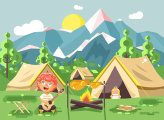 Vector illustration cartoon character child boy scout frying meat on open fire and sing songs, play guitar on nature, survival rules, adventure park outdoor background of mountains flat style