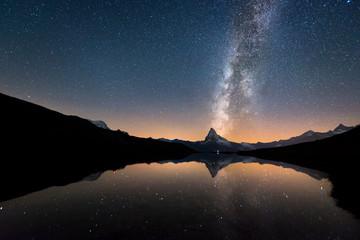 Milky Way over Matterhorn and Stellisee
