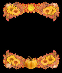 Autumn Border or Frame with Pumpkin, Dried Flowers, and Leaves