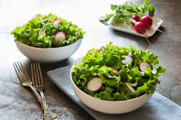 Leaf Lettuce and Radish Salad