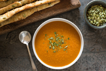Pumpkin Soup with Pumpkin Seed Bread Sticks