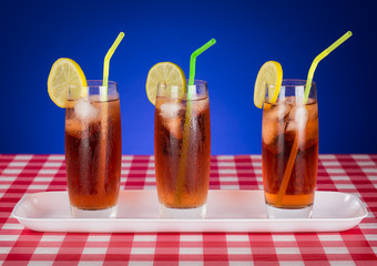 Iced tea Glasses on Checkered Table