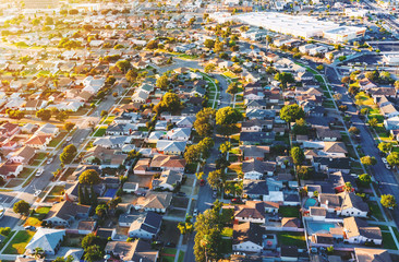 Spoed Fotobehang Luchtfoto Aerial view of of a residential neighborhood in Hawthorne, in Los Angeles, CA