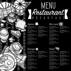 menu breakfast food restaurant template design hand drawing graphic