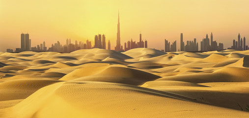 Foto op Plexiglas Dubai Dubai skyline in desert at sunset.