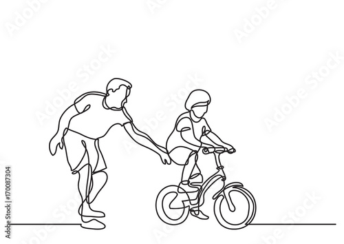 Line Drawing Quiet : Quot one line drawing of father helping child to drive bicycle