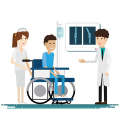 medical staff with patients. Vector illustration