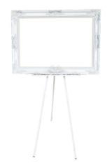 blank white frame on easel