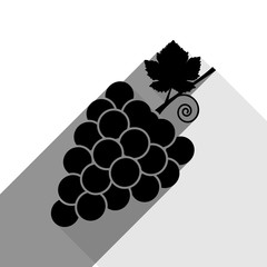 Grapes sign illustration. Vector. Black icon with two flat gray shadows on white background.