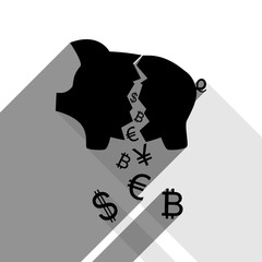 Pig money bank sign. Vector. Black icon with two flat gray shadows on white background.