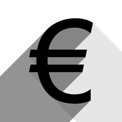 Euro sign. Vector. Black icon with two flat gray shadows on white background.