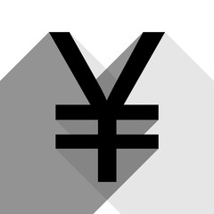 Yen sign. Vector. Black icon with two flat gray shadows on white background.