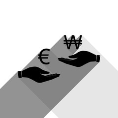 Currency exchange from hand to hand. Euro and Won. Vector. Black icon with two flat gray shadows on white background.