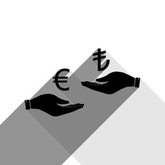 Currency exchange from hand to hand. Euro and Lira. Vector. Black icon with two flat gray shadows on white background.