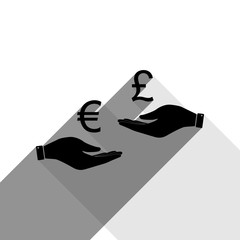 Currency exchange from hand to hand. Euro and Pound. Vector. Black icon with two flat gray shadows on white background.