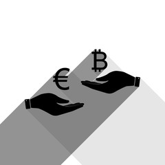Currency exchange from hand to hand. Euro an Bitcoin. Vector. Black icon with two flat gray shadows on white background.