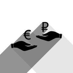 Currency exchange from hand to hand. Euro and Ruble. Vector. Black icon with two flat gray shadows on white background.