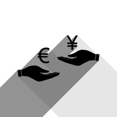 Currency exchange from hand to hand. Euro and Yen. Vector. Black icon with two flat gray shadows on white background.
