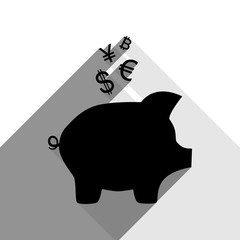 Piggy bank sign with the currencies. Vector. Black icon with two flat gray shadows on white background.