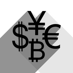 Currency sign collection dollar, euro, bitcoin, yen. Vector. Black icon with two flat gray shadows on white background.