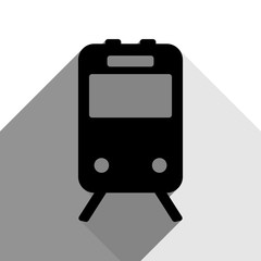 Train sign. Vector. Black icon with two flat gray shadows on white background.