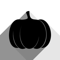 Pumpkin sign. Vector. Black icon with two flat gray shadows on white background.