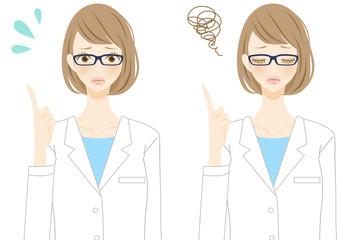 人物イラスト 指差し 助言をする看護師