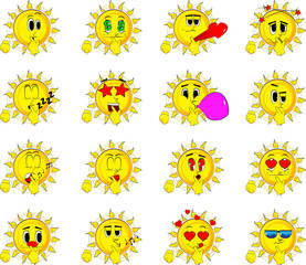 Cartoon sun holdin finger front of his mouth. Collection with various facial expressions. Vector set.