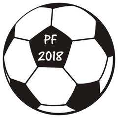 Soccer ball, PF 2018, vector icon