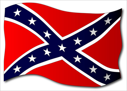 Waving Confederate Flag Isolated
