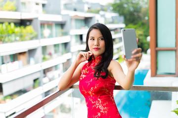 Beautiful lady taking a selfie