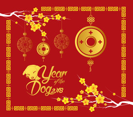 Happy Chinese new year 2018 card, Gold coin, year of the dog