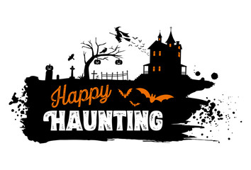 Happy Haunting Text Banner, Vector