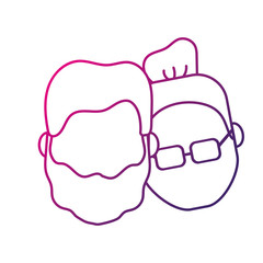 silhouette avatar couple head with hairstyle design vector illustration