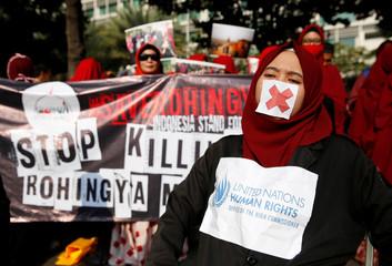 Activists and protesters take part in a rally in support of Myanmar's Rohingya during one of the deadliest bouts of violence involving the Muslim minority in decades, in Jakarta, Indonesia