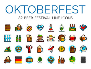 Oktoberfest vector illustration icons set