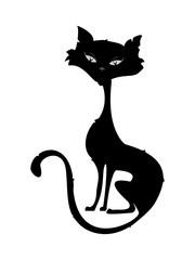 Skinny ugly black  cat