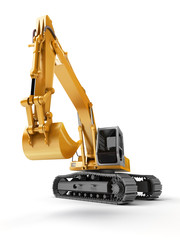 Hydraulic Excavator with bucket at foreground. 3d illustration. Front view. Wide angle. Isolated on white